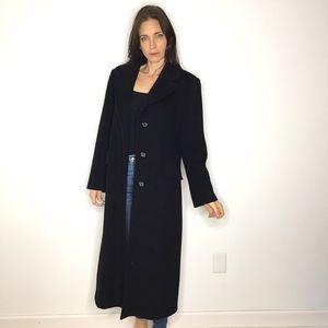 Vintage Black Long Wool Peacoat Pea Coat